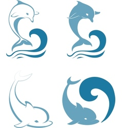 Silhouettes of the dolphins vector image