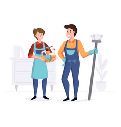 smiling staff from cleaning company after vector image