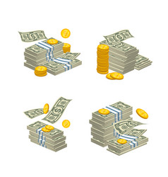 stacked cash on white vector image