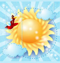 summer background with sun and airplane vector image