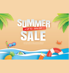Summer sale with decoration origami on beach vector