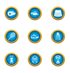 Tennis scope icons set flat style vector