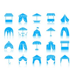 tent color silhouette icons set vector image