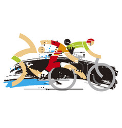 Triathlon race expresiv stylized vector