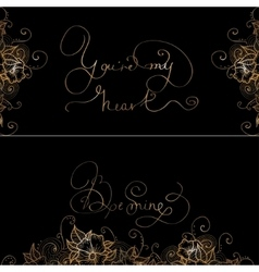 Two design card with original hand lettering vector image