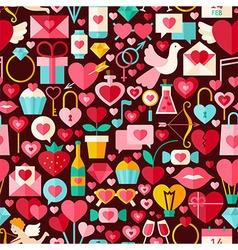 valentine day flat design dark seamless pattern vector image