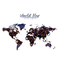 world map city lights in colorful silhouette vector image