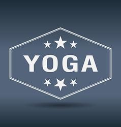 yoga hexagonal white vintage retro style label vector image