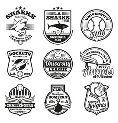 College athletic labels logos badges and vector image