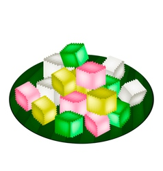 Colorful Thai Crispy Jelly on Banana Leaf vector image vector image