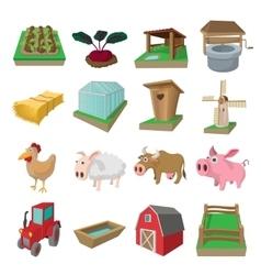 Farm cartoon icons set vector image