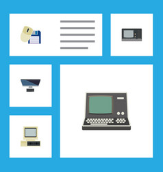 Flat icon computer set of vintage hardware pc vector