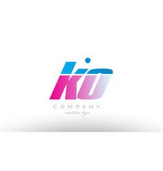 ko k o alphabet letter combination pink blue bold vector image vector image
