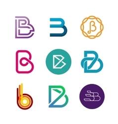 Letter B logo set Color icon templates design vector image vector image