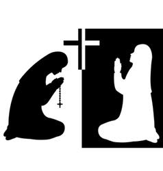 praying nuns vector image