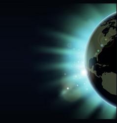 world globe eclipse sunrise concept vector image