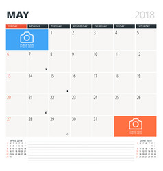 calendar planner for may 2018 design template vector image vector image