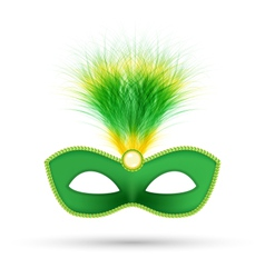 Green carnival mask with fluffy feathers isolated vector image