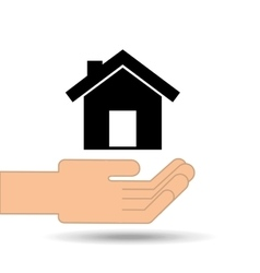 hand holding house home design vector image