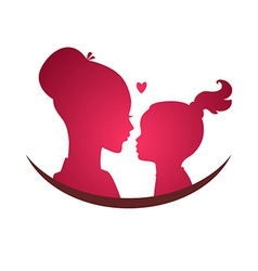 Mom and daughter love vector image