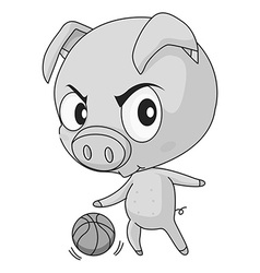 Pig and basketball vector image
