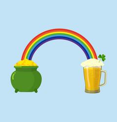 pot of gold and mug beer treasures leprechaun and vector image