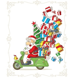 Santa Claus on Scooter Silly Cartoon vector image vector image