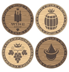 Wood barrels with wine on white background vector image vector image