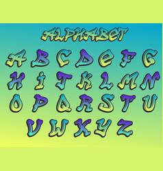 graffity alphabet hand drawn grunge font vector image