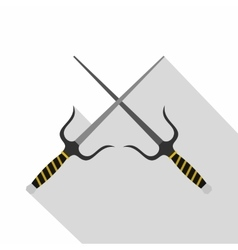 Sai weapon icon flat style vector image