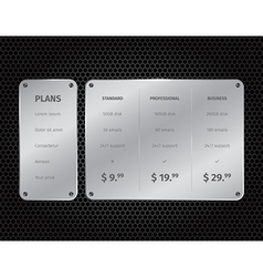 Silver modern pricing table with on dark vector image