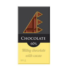 chocolate bar cacao label package sweet milky vector image