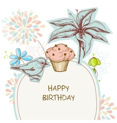 Happy birthday card cupcake bird and flowers vector