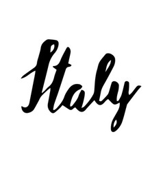 italy hand lettering isolated on white background vector image vector image