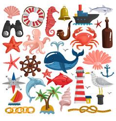 Nautical elements and sea life set vector