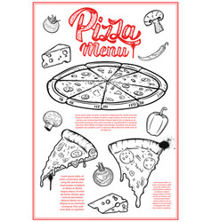 pizza menu cover layout menu chalkboard with hand vector image