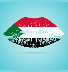 sudan flag lipstick on the lips isolated on a vector image
