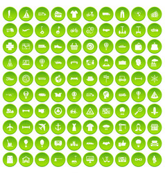 100 logistics icons set green circle vector