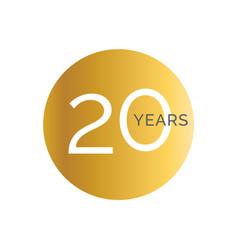 20th anniversary gold banner template twentieth vector image