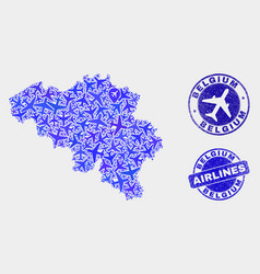 Aerial collage belgium map and grunge vector