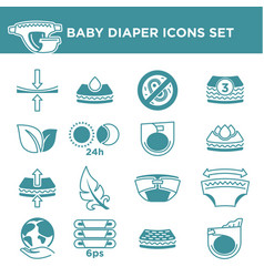 Baby diaper package information icons set vector