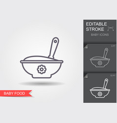 Baspoon and bowl full meal line icon with vector