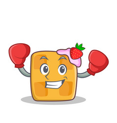 Boxing waffle character cartoon design vector