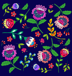 bright cartoon flowers on dark blue vector image