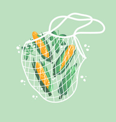 Bright sweet corns in reusable grocery shopping vector