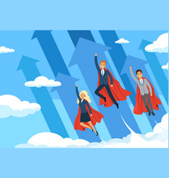 business hero background flying managers power of vector image