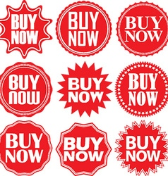 Buy now signs set Buy now sticker set vector image