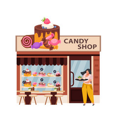 Candy shop flat vector