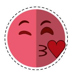 cartoon kiss love emoticon funny vector image
