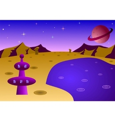 cartoon planet landscape vector image